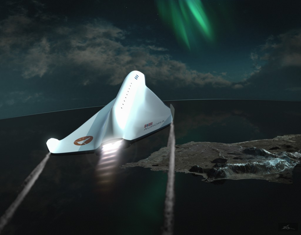 The virtual spaceship Aurora sets course for space and the aurora. Andøya below.