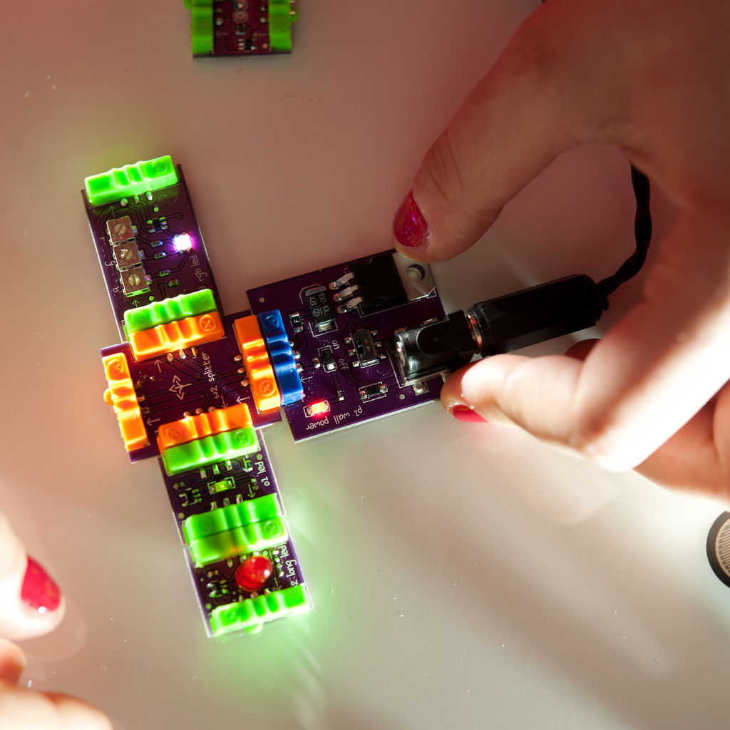 A system assembled using littleBits modules (By littleBits - littleBits, CC BY-SA 2.0)