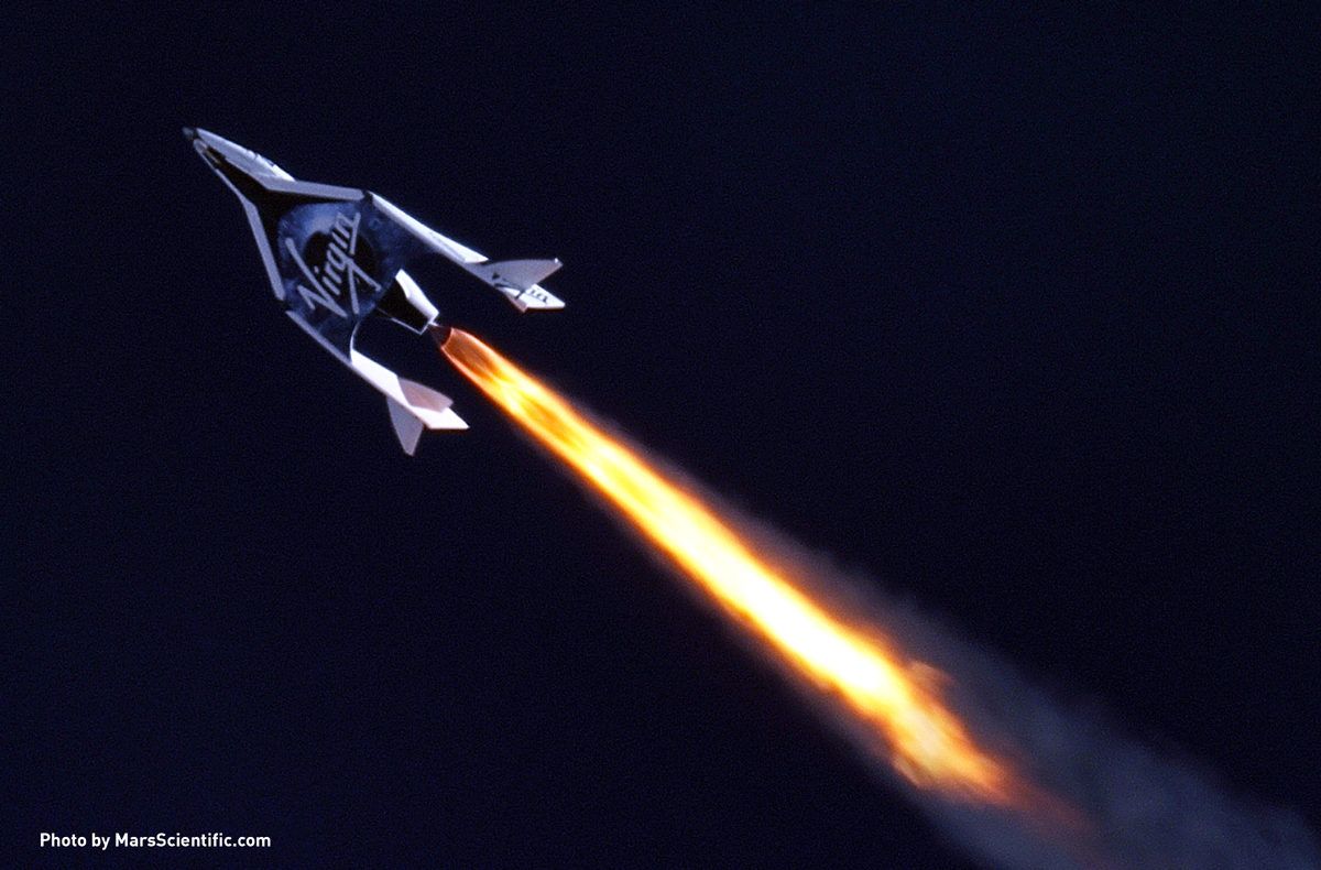 Virgin Galactic's first SpaceShipTwo during its first supersonic powered flight.